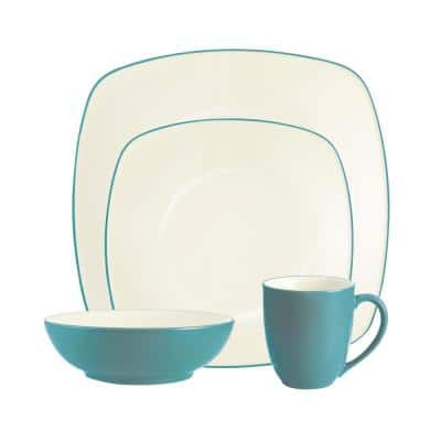 Colorwave Turquoise Stoneware Square 4-Piece Place Setting (Service for 1)