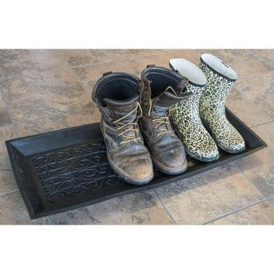Black 14 in. x 34 in. Rubber Boot Tray
