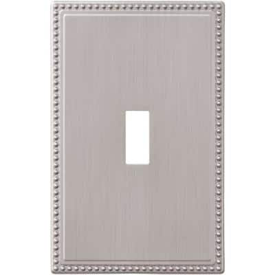 Perlina 1 Gang Toggle Metal Wall Plate - Brushed Nickel