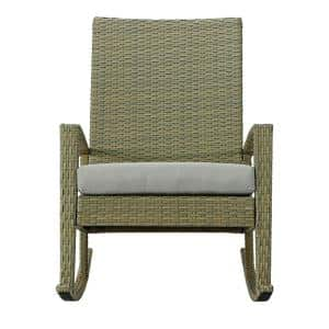 Belle Natural Wicker Outdoor Rocking Chair with Light Gray Cushions
