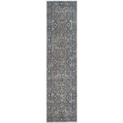 Artisan Dark Gray/Blue 2 ft. x 12 ft. Border Runner Rug