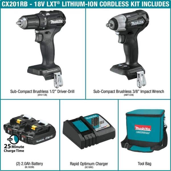 Driver-Drill//Impact Driver 18-Volt Lxt Lithium-Ion Compact 2-Piece Combo Kit
