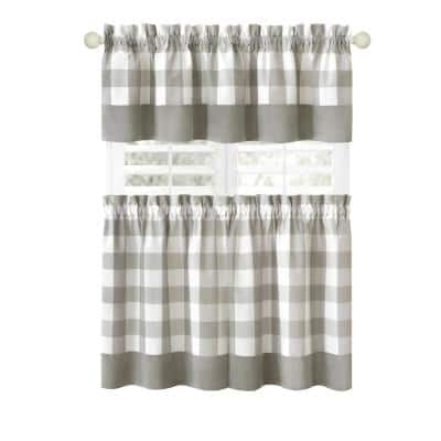 Hunter 57 in.W x 24 in. L Polyester/Cotton Light Filtering Window Rod Pocket Tier and Valance Set In Grey