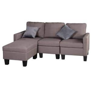 Good Gracious 81 In Brown Microfiber 4 Seats Sectional Sofa Set With Storage Ottoman Sct Sf04 The Home Depot