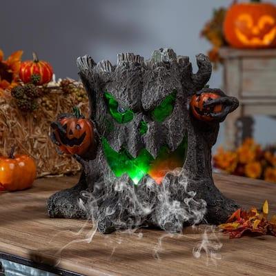 12.4 in. L Electric Smoking Haunted Tree Stump