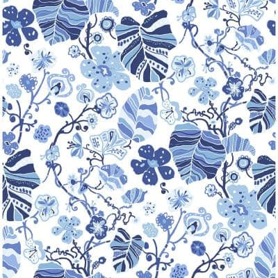 A Street Prints Gwyneth Indigo Floral Indigo Paper Strippable Roll Covers 56 4 Sq Ft 2903 25810 The Home Depot