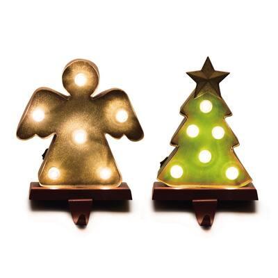 4.92 in. L x 3.54 in. W x 7.48 in. H Marquee LED Angel and Tree Stocking Holder Set of 2