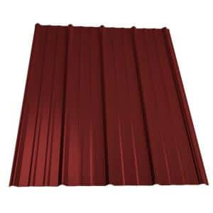 10 ft. Classic Rib Steel Roof Panel in Red