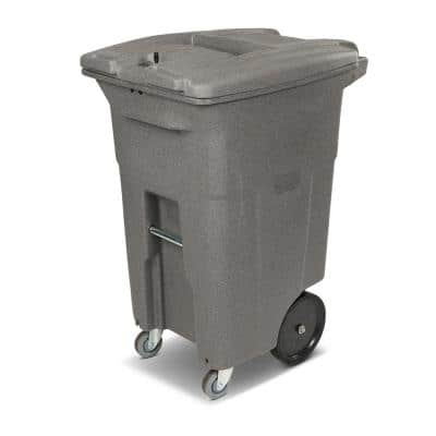 64 Gal. Graystone Document Trash Can with Wheels and Lid Lock (2 Caster Wheels, 2 Stationary Wheels)