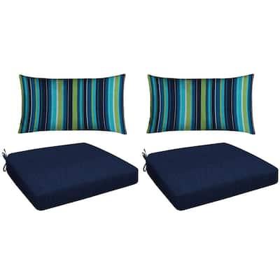 Navy 4-Piece Outdoor Premium Dining Chair Cushion Set