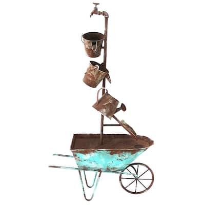 Wheelbarrow Metal Fountain