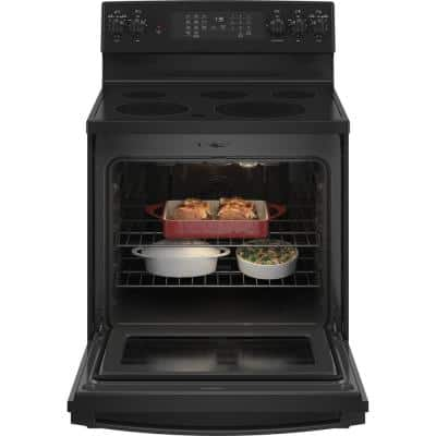 30 in. 5.3 cu. ft. Electric Range with Self-Cleaning Convection Oven and Air Fry in Black