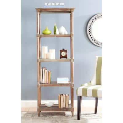 66.9 in. Washed Natural Pine Wood 4-shelf Etagere Bookcase