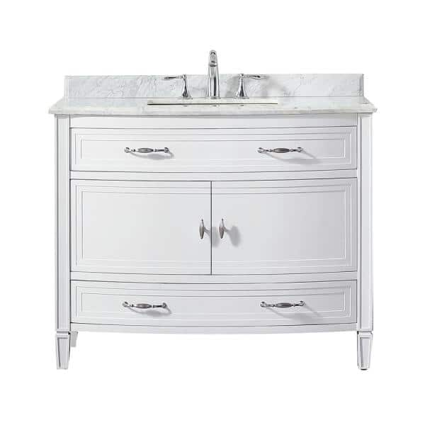 Home Decorators Collection Dacosti 42 In W X 22 In D Vanity In White With Marble Vanity Top In White With White Sink Dacosti 42 The Home Depot