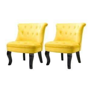 Jane Yellow Tufted Accent Chair (Set of 2)