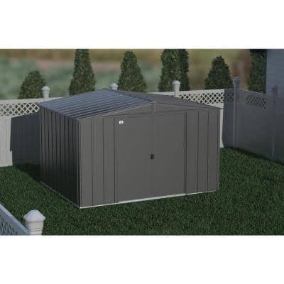 Classic 10 ft. W x 8 ft. D Charcoal Steel Storage Shed