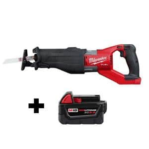 M18 FUEL 18-Volt Lithium-Ion Brushless Cordless SUPER SAWZALL Orbital Reciprocating Saw with Free M18 5.0 Ah Battery