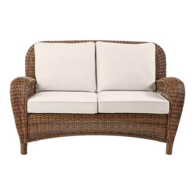 Beacon Park Brown Wicker Outdoor Patio Loveseat with CushionGuard Almond Tan Cushions