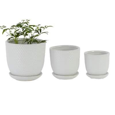 "Round White Ceramic Planter With Saucer, Set of 3: 5"", 6.25"", 7.75"""