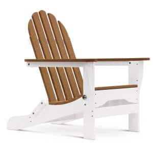 Icon White and Antique Mahogany Recycled Folding Plastic Adirondack Chair