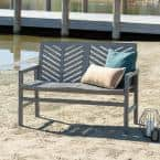 Grey Wash Acacia Wood Outdoor Loveseat with Chevron Design