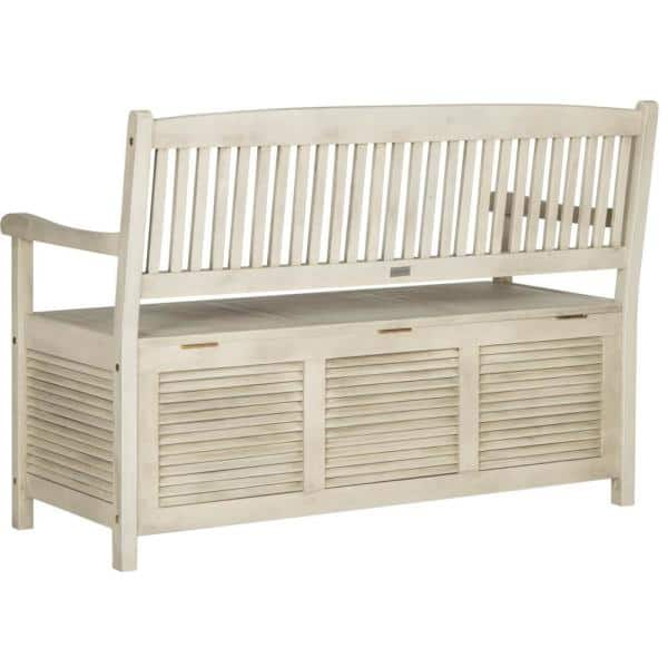 Safavieh Brisbane 50 In 2 Person Distressed White Acacia Wood Outdoor Bench Pat7017c The Home Depot