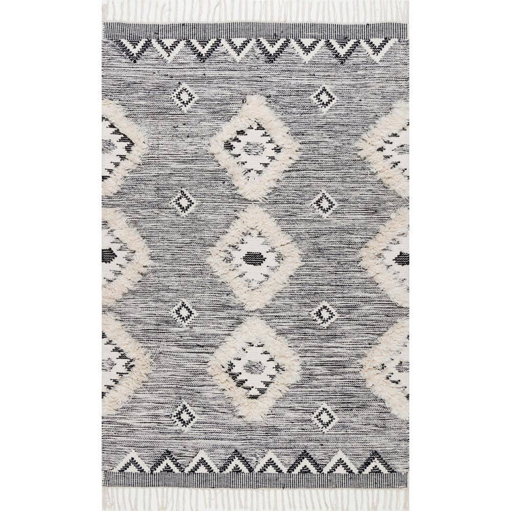Nuloom Savannah Moroccan Fringe Black 8 Ft X 11 Ft Area Rug Spmo01a 8011 The Home Depot