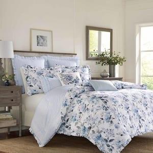 Chloe 3-Piece Blue Floral Cotton Full/Queen Duvet Cover Set