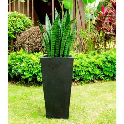 24.4 in. Tall Burnished Black Lightweight Concrete Rectangle Modern Tapered Outdoor Planter