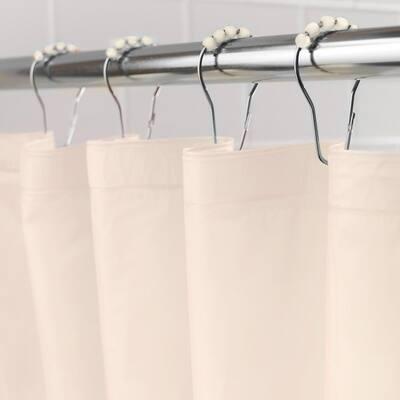 "Medium Weight PEVA Shower Curtain Liner and Beaded Roller Ring Set, 70"" W x 72"" H, Cream"