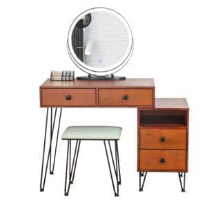 51.2 in. H 4-Drawer Cherry Dresser Set with Touch Screen Adjustable Lighted LED Mirror and Cushioned Stool