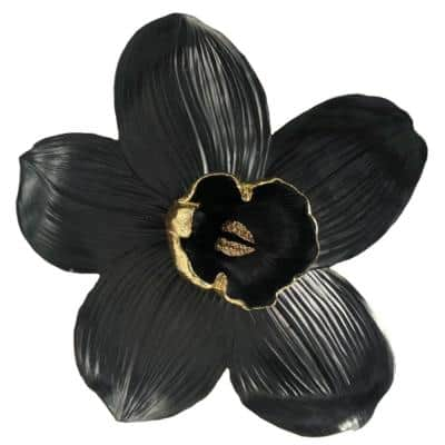 Black Large Polyresin Orchid Wall Hanging Decor with Gold Anthers