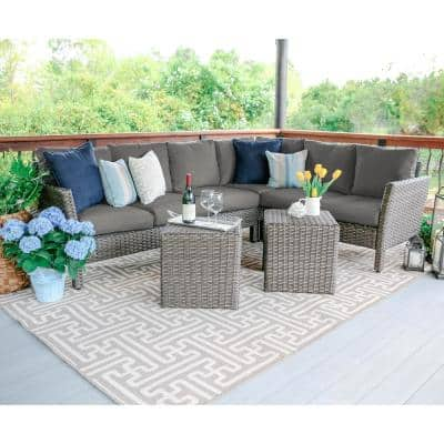 Canton 6-Piece Wicker Outdoor Sectional Set with Gray Cushions
