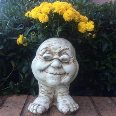 14 in. Antique White Grandma Violet Muggly Planter Statue Holds 6 in. Pot
