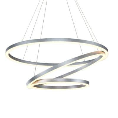 Tania 32 in. 98-Watt Integrated LED Silver Chandelier Circular Lighting With 3 Rings Pendant