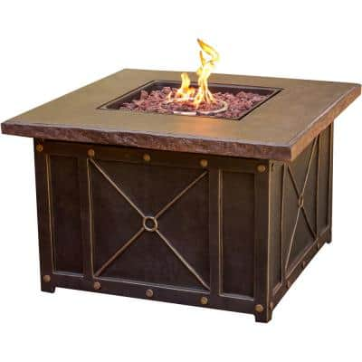 Summer Night 5-Piece Aluminum Patio Fire Pit Conversation Set with Natural Oat Cushions