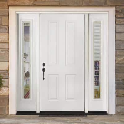 72 in. x 80 in. 4-Panel Primed White Right-Hand Steel Prehung Front Door with 16 in. Mini Blind Sidelites 4 in. Wall