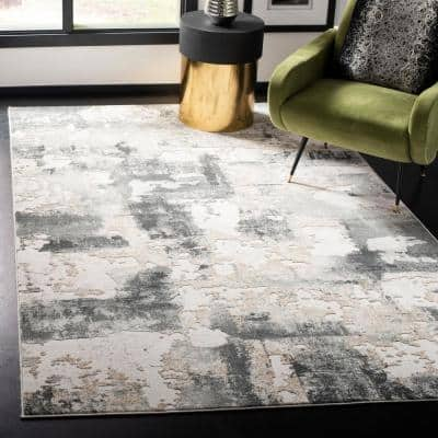 Vogue Beige/Charcoal 8 ft. x 10 ft. Distressed Abstract Area Rug