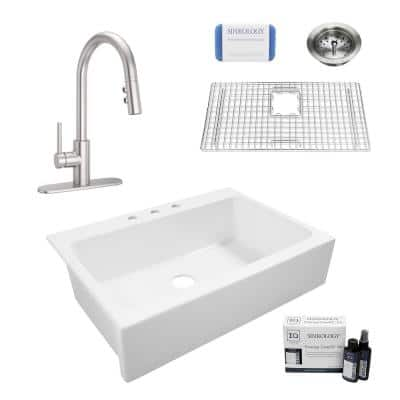 Elevate All-in-One Quick-Fit Fireclay 33.85 in. 3-Hole Single Bowl Drop-In Farmhouse Kitchen Sink with Pfister Faucet