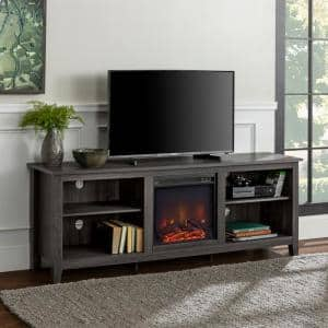 70 in. Wood Media TV Stand Console with Fireplace - Charcoal