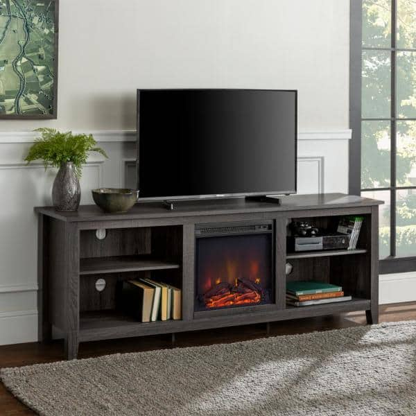 Walker Edison 70-in. Wood Media TV Stand Console with Fireplace