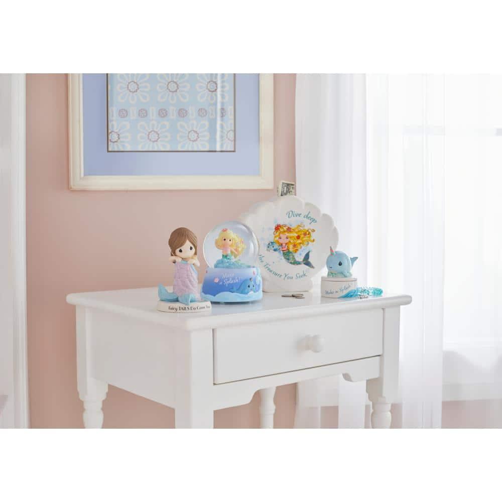 Precious Moments Shell Ceramic Dive Deep For The Treasure You Seek Mermaid Piggy Bank 191480 The Home Depot