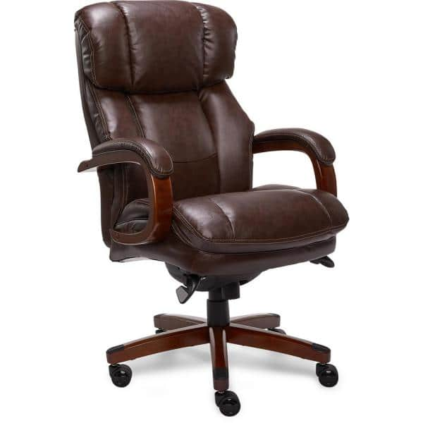 La Z Boy Fairmont Biscuit Brown Bonded, Real Leather Office Chair