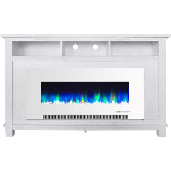 Cambridge San Jose 58 In Freestanding Electric Fireplace Entertainment Stand In White With 50 In Insert And Crystal Rock Display Cam5735 1ww The Home Depot