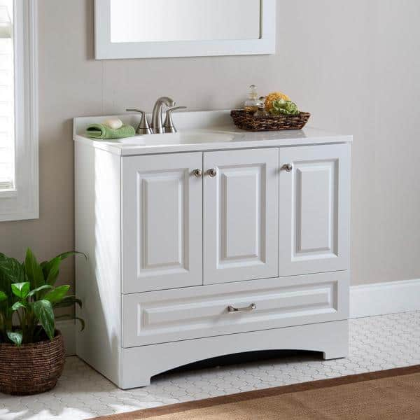 Glacier Bay Lancaster 36 In W Side Drawer Bath Vanity In White With Alpine Composite Vanity Top In White Lc36p2 Wh The Home Depot