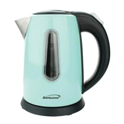 4-Cup Blue Stainless Steel Cordless Electric Kettle