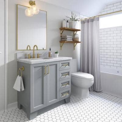 Taylor 37 in. W x 22 in. D Bath Vanity in Grey with Marble Vanity Top in Carrara White with White Basin