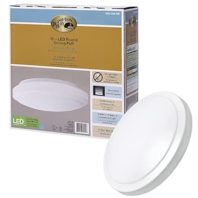 12 in. Round LED Flush Mount Light Pantry Laundry Closet Light 1000 Lumens Dimmable 4000K Bright White