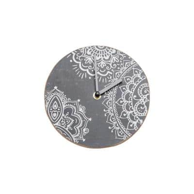 Henna Print Wood Battery Operated Table Clock