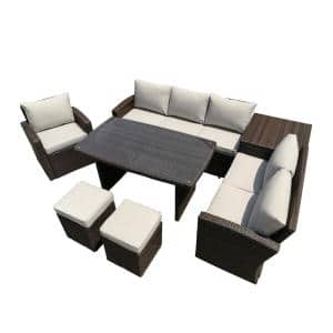 Mediterranean Brown Wicker Outdoor Sectional Set with Beige Cushions